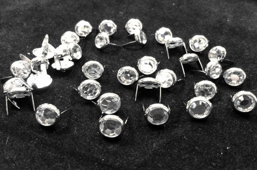 T2202-2P Clear  5/16 inches(8.2mm) Synthetic Crystal Gem Round Spots 10/pk