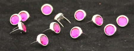 T2202-2P Dark Pink 5/16 inches(8.2mm) Synthetic Crystal Gem Round Spots 10/pk