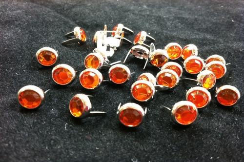 T2202-2P Orange  5/16 inches(8.2mm) Synthetic Crystal Gem Round Spots 10/pk