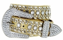 "50118 Rhinestone Western Belt 1.5"" Wide - Gold"