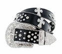 50121 Western Cross Rhinestone Belt - Black