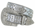 50124 Western Cowgirl Fleur-de-lis Bling Rhinestone Leather Belt - Silver
