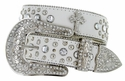 50127 Western Cowgirl Bling Cross Rhinestone Leather Belt - White