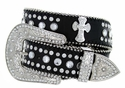 50161 Genuine Leather Rhinestone Cross Conchos Studded Belt - Black