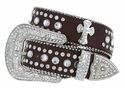 50161 Genuine Leather Rhinestone Cross Conchos Studded Belt - Brown