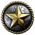 "BS9156-3  SRTPGP 1 1/2"" Antique Silver/Gold Star Round Rope Edge Concho"