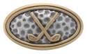 BS8160C SRTPGP  ANTIQUE SILVER WITH GOLD CROSSED GOLF CLUBS AND BALL DIMPLES CONCHO