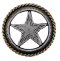 "BS9112 SRTPGP 1 1/8"" SILVER & GOLD FINISH ROPE ENGRAVED STAR CONCHO"