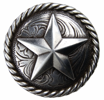 "BS9156-1 SRTP  1"" Antique Silver Plated Round Rope Edge Star Concho"