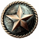 "BS9156 -2 Copper 1 1/4"" Star  Round Rope Edge Concho"