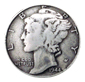 BS9179 SRTP Antique Silver Mercury Dime Concho