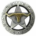 "BS9247-B SRTP/GP<BR>1 1/8"" Texas Longhorn Steer Star Concho"