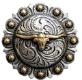 "BS9265-3 SRTPGP 1 1/2"" Longhorn Steer Berry Bulls Head  Concho"