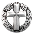 BS9270 SRTP SILVER CHRISTIAN Cross Concho 1 1/8""