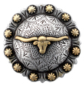 "BS9275-3 SRTPGP 1 1/2"" Longhorn Steer Berry Bulls Head Concho"