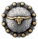 "BS9275 SRTPGP 2 3/8"" Longhorn Steer Berry Bulls Head Concho"