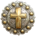 "BS9279-1 SRTP/GP<BR>1 1/4"" Berry  Gold Cross Concho"