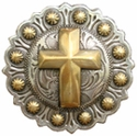 "BS9279-2 SRTP/GP<BR>1 1/2"" Berry Gold Christian Cross Concho"