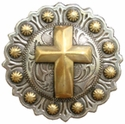 "BS9279-3 SRTPGP<BR>1 3/4"" Berry Gold Christian Cross Concho"