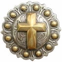 "BS9279 SRTP/GP 2-3/8"" Berry Gold Christian Cross Concho"