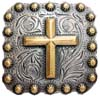 "BS9284-1 SRTPGP<BR>1"" Gold Cross Square Concho"