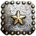 "BS9287 SRTPGP 2 1/4"" Gold Star Berry Square Concho"