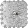 """BS9291-2 SP 1-3/8"""" Shiny Silver Berry Square Concho"""