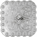 "BS9291 SP<BR>2 1/4"" Shiny Silver Berry Square Concho"