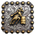 "BS9294-2 SRTPGP<BR>1 3/8"" Gold Barrel Racer Square Concho"