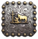 "BS9295 SRTPGP 2 1/4"" Gold Praying Cowboy Square Concho"