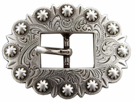 BS9307 SRTP Antique Silver  Cart Berry Centerbar Buckle 3/4""