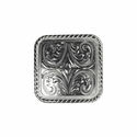 """BS9312-1 SP 1"""" Shiny Silver  Square Rope Edge Concho"""