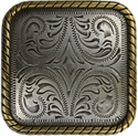 """BS9312 SRTPGP 2-1/4"""" Gold Rope Edge Square Concho"""