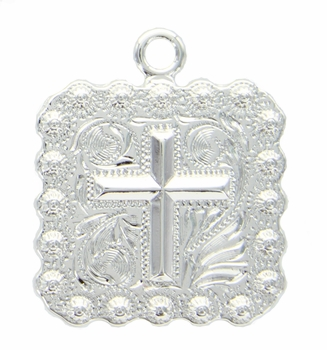 "BS9313-2 SP 1 3/8"" Cross Square Berry Pendant"