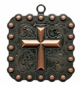 "BS9313 Copper 2 1/4""  Cross Square Berry Pendant"
