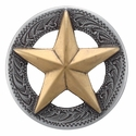 "BS9951-3 SRTP/GP  1 1/2"" ANTIQUE SILVER FINISH WITH GOLD STAR RAISED STAR ENGRAVED"