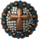 Copper Cross Swarovski Concho