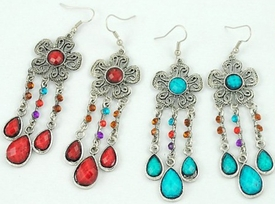 E1042 Flower Chandelier Gemstone Earrings
