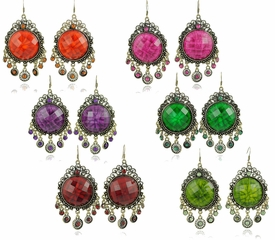 E1075 Chandelier Gemstone Fashion Earrings *Multi-Color Options*