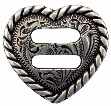 """F9524A-10 LASRP<BR>1-1/2"""" Heart Rope Edge Swirl Slotted Concho"""