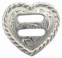 "F9524A-10 SP<BR>1-1/2"" Heart Rope Edge Swirl Slotted Concho"