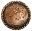 "F9819-2 COPPER<BR>3/4"" Round Rope Edge Western Engraved Concho"