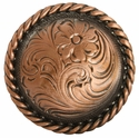 "F9819-4 COPPER<BR>1 1/4"" Round Rope Edge Western Engraved Concho"