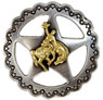 "FA4835-2 ASAG Star Bronco Rider Concho 1"" Antique Silver and Gold"