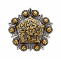 FA4855 ASAG Antique Silver and Gold Floral Pentagon Concho 1''