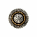 FA4863-1 ASAG Antique Silver and Gold Center Rope Concho 1""