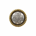 FA5053-1 ASAG Antique Silver and Gold Rope Edge Flower Engraved Concho 3/4''