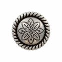 FA5053-2 LASRP Antique Silver Rope Edge Flower Engraved Concho 1""