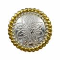 FA5053-3 GSP Polished Silver and Gold Rope Edge Flower Engraved Concho 1-1/4''