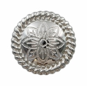FA5053-3 SP Polished Silver Rope Edge Flower Engraved Concho 1-1/4""
